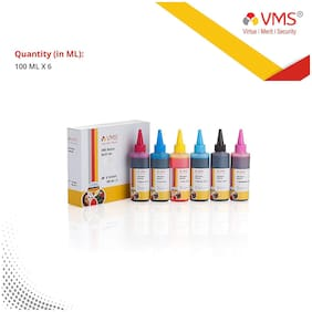 VMS Deluxe Refill Ink (100ml x 6) for Inkjet Printers (Cyan, Light Cyan, Magenta, Light Megenta, Yellow, Black)