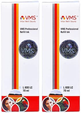 VMS Professional Light Cyan Refill Ink for HP, EPSON and All Inkjet Printers 70 ML (Pack of 2)