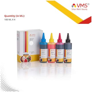 VMS Deluxe Cyan, Magenta, Yellow, Black Refill ink for All Inkjet Printers Best Quality Photo Refill Ink Bottle For Accurate Printing 100ml x 4 colour