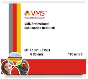 VMS Sublimation Ink for Epson and All Inkjet Printers (100 ml x 6) Multicolor Set Of 6 (Cyan, Light Cyan, Magenta, Light Magenta, Yellow, Black)