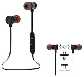 VB TRADE Wireless Bluetooth Magnet Earphone Hands-free Headphone for All Smartphones In-Ear Bluetooth Headset ( Black )