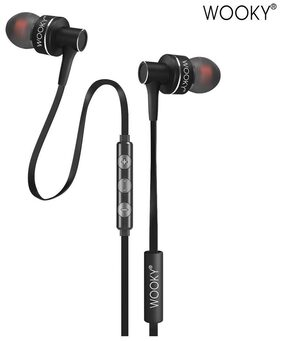 WOOKY Bass-10 In-Ear Earphone with Mic & Volume Controller (Carbon Black)