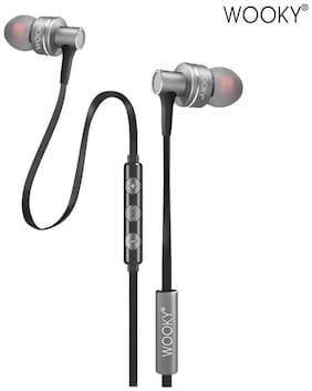 WOOKY Bass-10 In-Ear Earphone with Mic & Volume Controller (Hot Silver)