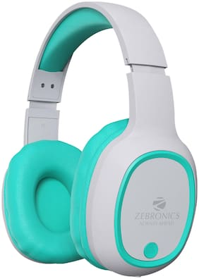 ZEBRONICS Zeb-Thunder Wireless BT Headphone Comes with 40mm Drivers;AUX Connectivity;Built in FM;Call Function;9Hrs* Playback time and Supports Micro SD Card (Sea Green)