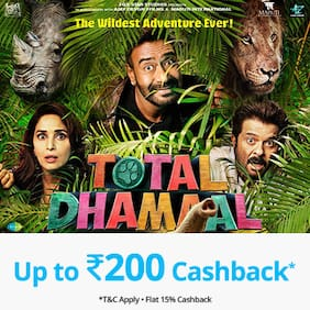 Book Total Dhamaal movie tickets on Paytm & get Cashback* upto Rs 200