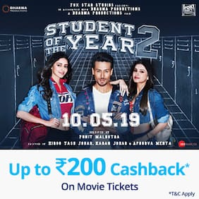 Book Student Of The Year 2 movie tickets on Paytm & get 15% Cashback* upto Rs 200