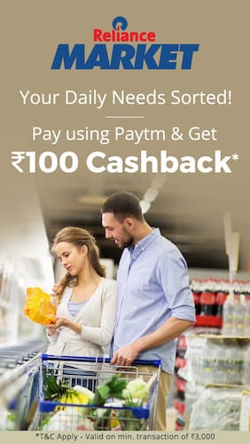 Flat Rs.100 Cashback when you pay using Paytm at Reliance Market Stores