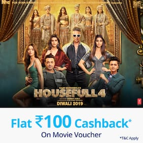 Get 100% Cashback* up to Rs.100 on Housefull 4 movie.