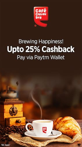 Get 25 Cashback When You Pay Via Paytm Wallet Cafe Coffee Day