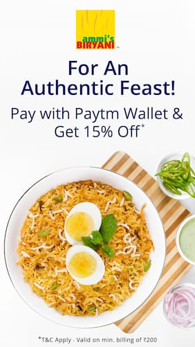 Flat 15% off when you pay with Paytm at Ammi s Biryani
