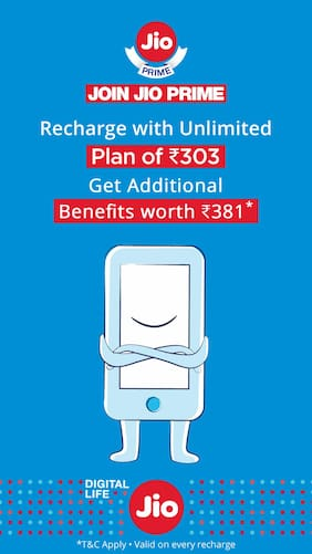 Get Rs.30 off on Jio recharge of Rs.303 or more & Rs.150 Cashback on movie tickets.