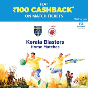 Buy Kerala Blasters Home Match Tickets on Paytm & get flat cashback of Rs.100