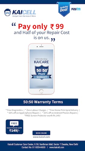 Pay INR 99 & your half mobile repair cost is on us Kaicare Iphone 50:50  warranty