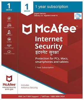 McAfee Internet Security - 1 User  1 Year (Email delivery- No CD)