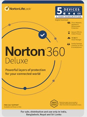 Norton 360 Deluxe | 5 Users 3 Years | Total Security Includes Antivirus | PC Mac Android & IOS | Email Delivery - No CD