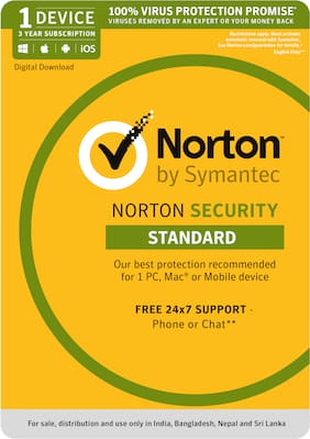 Norton Security Standard - 1 PC - 3 Year Subscription (PC, Mac, Android, IOS) - (Email Delivery in 2 hours- No CD)