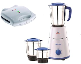 Bajaj Combo of Pluto 500W Mixer Grinder with Majesty Grill Toaster New SWX 4