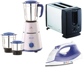 Bajaj Combo of Pluto 500W Mixer Grinder Majesty MX 3 Steam Iron Auto : Pop Metallic Toaster ATX 3