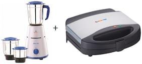Bajaj Combo of Pluto 500 Watt 3 Jar Mixer Grinder (410503) & Majesty New SWX 7 750-Watt Sandwich Toaster (270042)