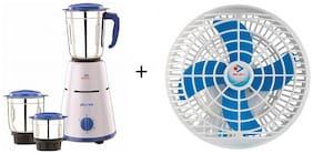 Bajaj Combo of Pluto 500 Watt 3 Jar Mixer Grinder &  Ultima PW01 48-Watt Wall Fan (White)