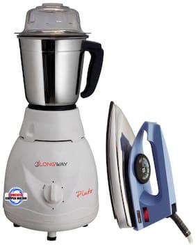Longway Pluto 500 Watt 1 Jar Mixer Grinder with Iron Combo Pack (White;Blue)