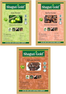 100% Organic Amla + Reetha + Shikakai Powder - 100 gmx3 300gm