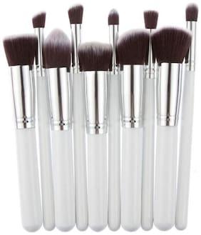 10PCS Foundation Black/White/Pink Blending Brush LP Makeup Tool Cosmetic Set