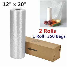 2 Rolls 12x20 Plastic Produce Clear Storage Bag Kitchen for Fruits Vegetables US