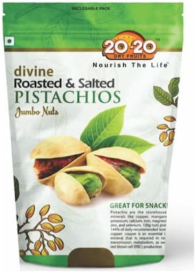 20-20 Dry Fruits divine Roasted & Salted PISTACHIOS Jumbo nuts 250gm