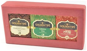 Golden Tips 3-In-1 Handmade Paper Box Darjeeling Green And Masala Chai- 3X50 g
