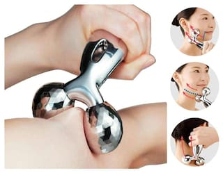 3D roller Body And Face Slimming Massager  (Silver)