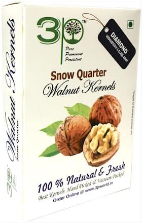 3P LIGHT SNOW QUARTER KASHMIRI WALNUT KERNELS DRY FRUITS 250g (Pack of 1)