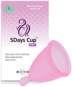 5DAYSCUP COMFY Menstrual Cup -Pads and Tampon Alternative   12 Hrs. Protection (Large, Pink)