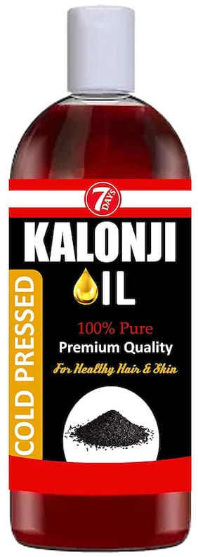 7 Days 100% Pure Kalonji (Black Seed) Oil Cold-Pressed for Skin Toning, Hair Growth & Joints Massage - 100ml