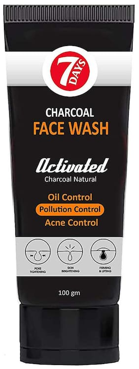 7 Days Charcoal Face Wash, Fights Pollution And Acne, Oil Control For Men and women - 100g