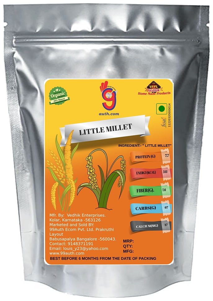 99Auth Organic Natural Pure Little Millet - The Immune Boosting Indigenous Grain 3 kg