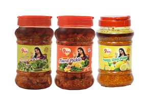 9AM Mango Pickle 1 kg;Mixed Pickle 1 kg & Lemon Pickle 1 kg (Pack of 3)