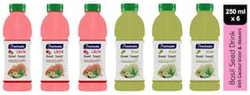 Aactuala Combo of Basil Seed Drink- Litchi 250 ml,Kiwi 250 ml (Pack of 6)