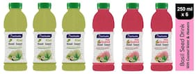 Aactuala Combo of Basil Seed Drink- Kiwi 250ml,Pink Guava 250ml(Pack of 6)