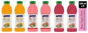 Aactuala Combo of Basil Seed Drink- Mango250 ml,Litchi 250ml,Pink Guava 250ml (Pack of 6)