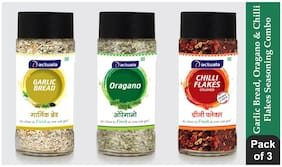 Aactuala Combo of Garlic Bread Seasoning 40 gm,Oregano Seasoning 25gm,Chilli Flakes 40 gm (Pack of 3)