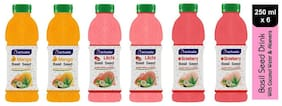 Aactuala Combo of Basil Seed Drink- Mango 250 ml,Litchi 250ml,Strawberry 250ml (Pack of 6)