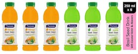 Aactuala Combo of Basil Seed Drink- Mango 250 ml,Green Apple 250ml (Pack of 6)