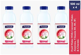 Aactuala Water Melon - Strawberry Fruit Water With Coconut Water + Aloevera + Vitamin B3,B5,B7 & Glucose 500 ml (Pack Of 4 )