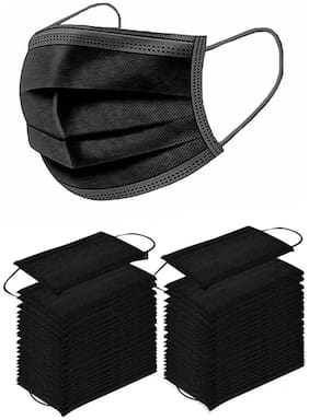 Aahana 3 Ply Disposable Mask Ce Fda Approved Black Pollution Mask (Pack Of 25)