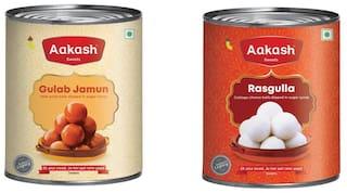 Aakash Sweets Combo (Rasgulla 1kg;Gulab Jamun 1kg) (Pack of 2)
