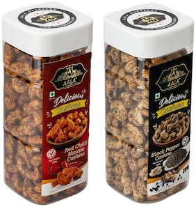 AALA Dry Fruits Premium Quality Combo of Roasted Salted Red Chilli Cashews 500 g & Roasted Salted Black Pepper Cashews 500 g