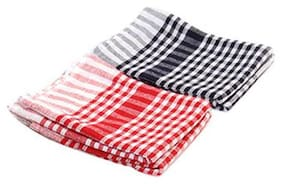 Aarna Clean Cotton Checked Cloth - Assorted Color  Small Pack of 1(4 pcs)