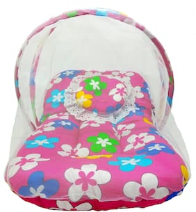 Aayat Kids Skin Friendly Well Cushioned Flower Printed Multi Luxury 0 to 12 months Baby mosquito Net Bed Model D4