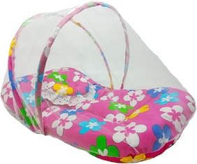 Aayat Kids Skin Friendly Well Cushioned Flower Printed Multi Luxury 0 to 12 months Baby mosquito Net Bed Model D6